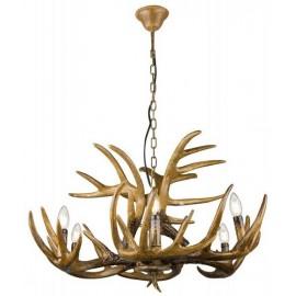 Lámpara techo rustico cuerno Paumure 6 luces