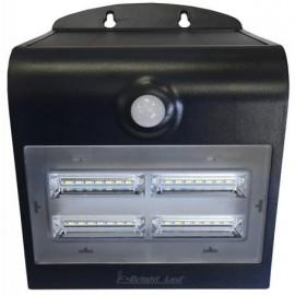 Lámpara Aplique solar Led recargable con sensor y doble luz + 3 modos negro 3,2W