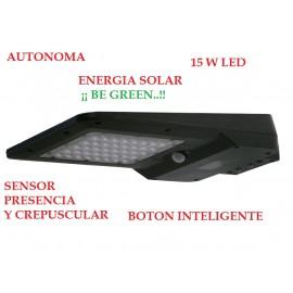Lámpara farola solar 15 w negro