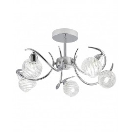 Lámpara plafón 5 luces cromo cristal Alana