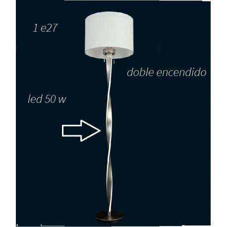 Lámpara de pie salón 50w led + e27 con pantalla