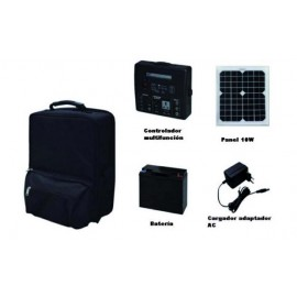 Kit energia solar portatil 2x10 w 24 h carga 20 W Led