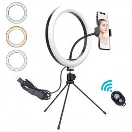 Aro Luz Sobremesa Tripode 10w led selfie con mando