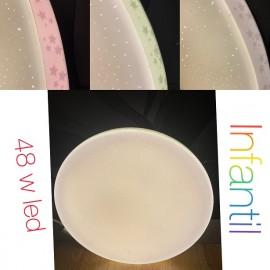 Lámpara plafón estrellas infantil 48 w led colores