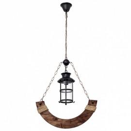 Lámpara colgante 1 luz Cortijo forja madera