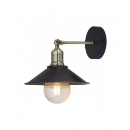 Lámpara aplique pared Gary negro cuero