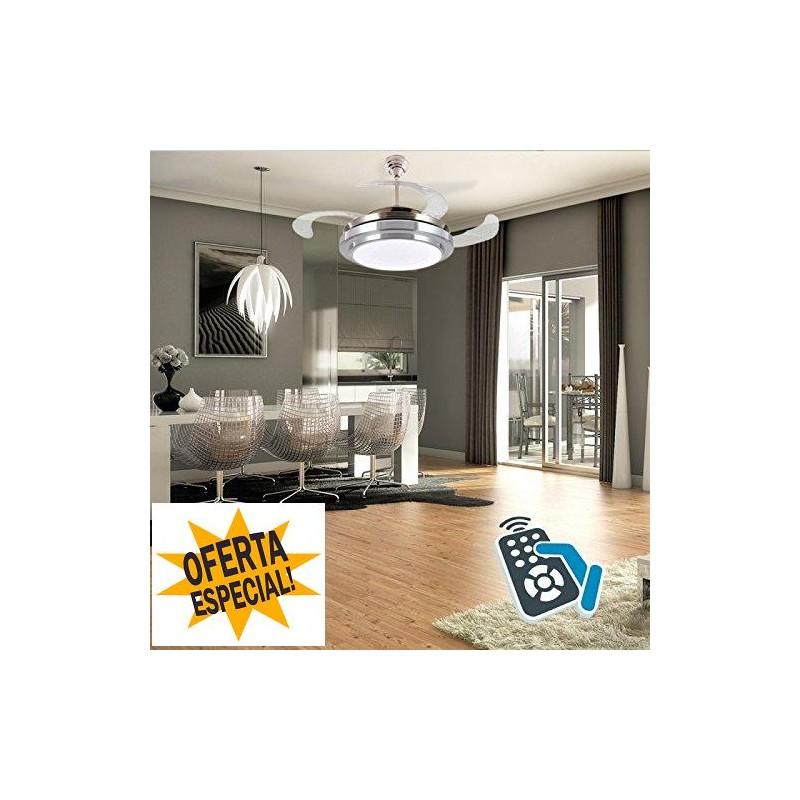 Ventilador de techo con pala retractil somontano luz - Lampara de techo con ventilador ...